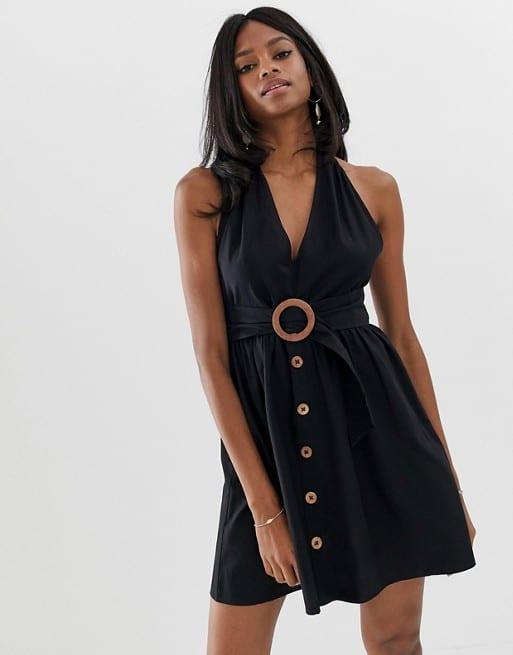 ASOS DESIGN halter neck mini button through linen sundress with buckle - EU 44 - $31.50