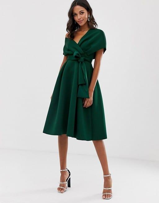 ASOS DESIGN Fallen Shoulder Prom Dress with Tie Detail - EU 44 - $80