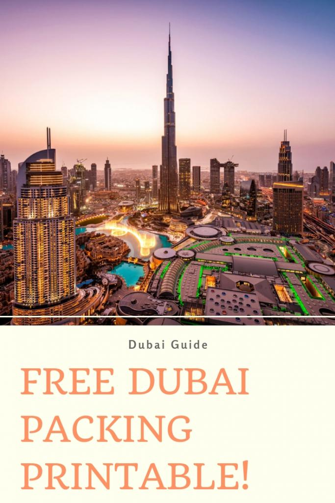 FREE DUBAI PACKING PRINTABLE!