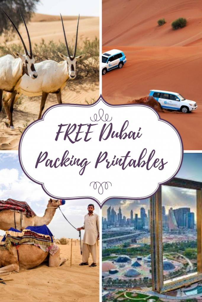 FREE Dubai Packing Printables