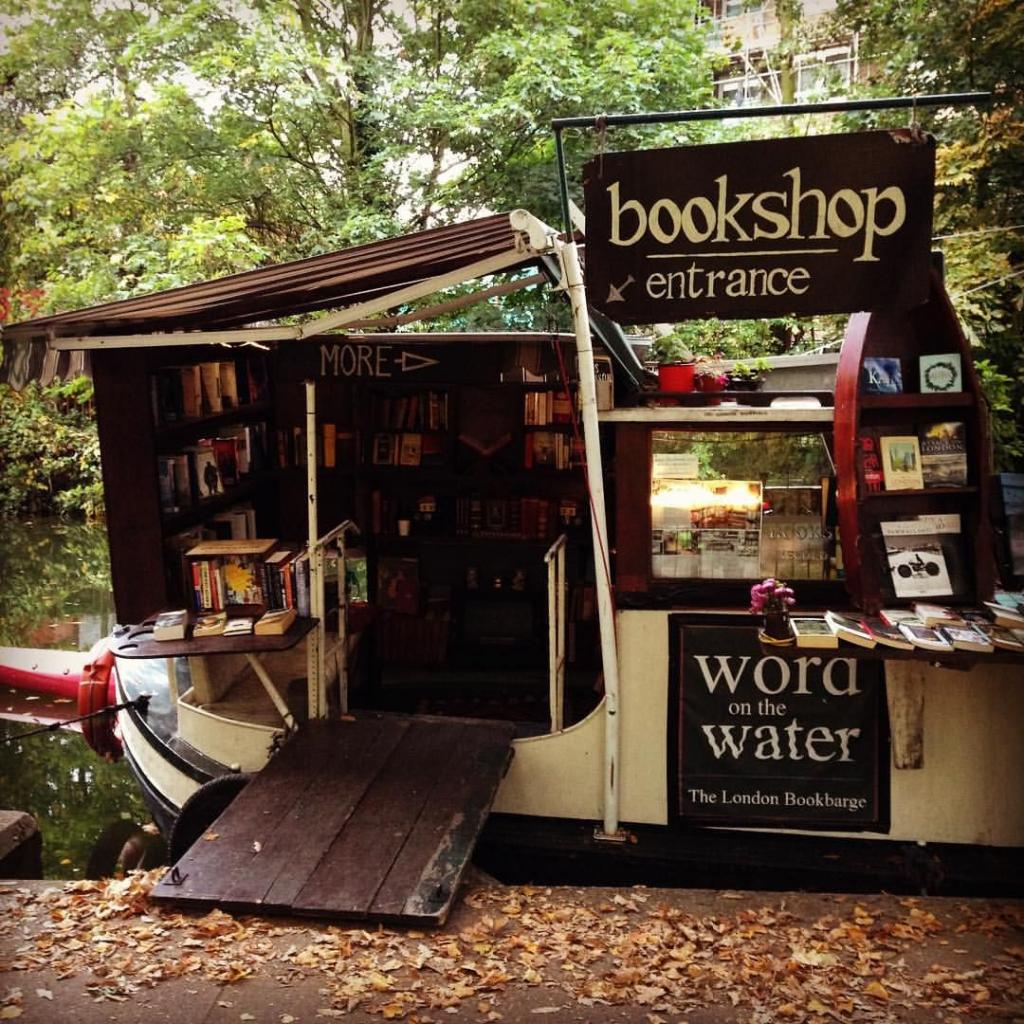 floating book shop word on water london