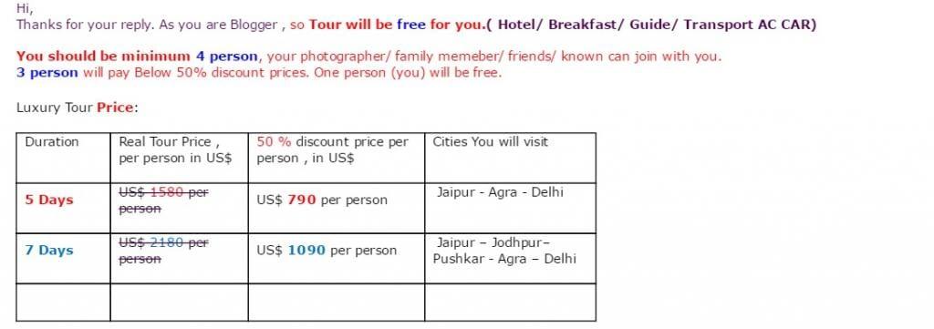 TAV India tour scam bloggers email