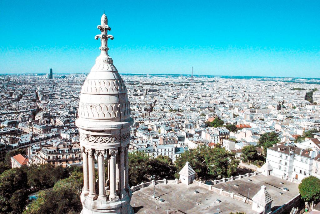 The beautiful view over paris from montmartre