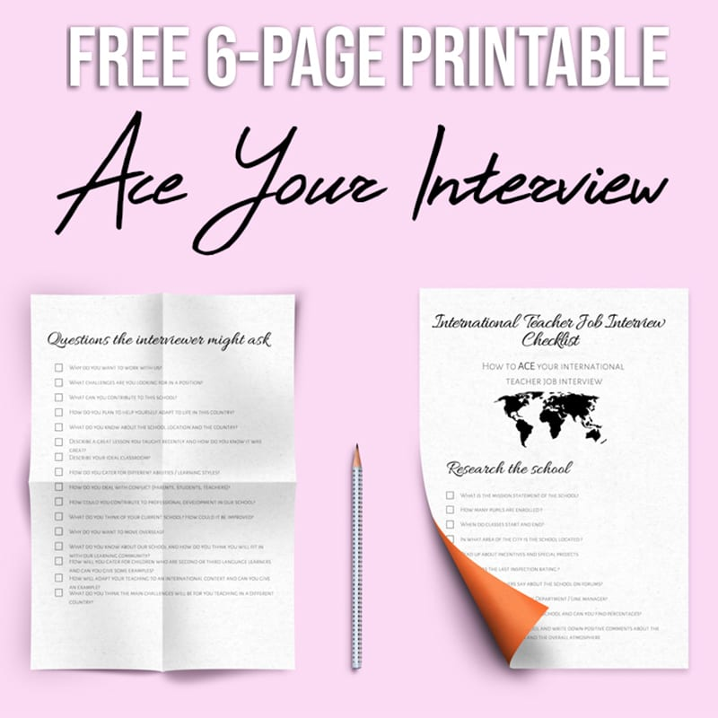 free 6 page job interview printable