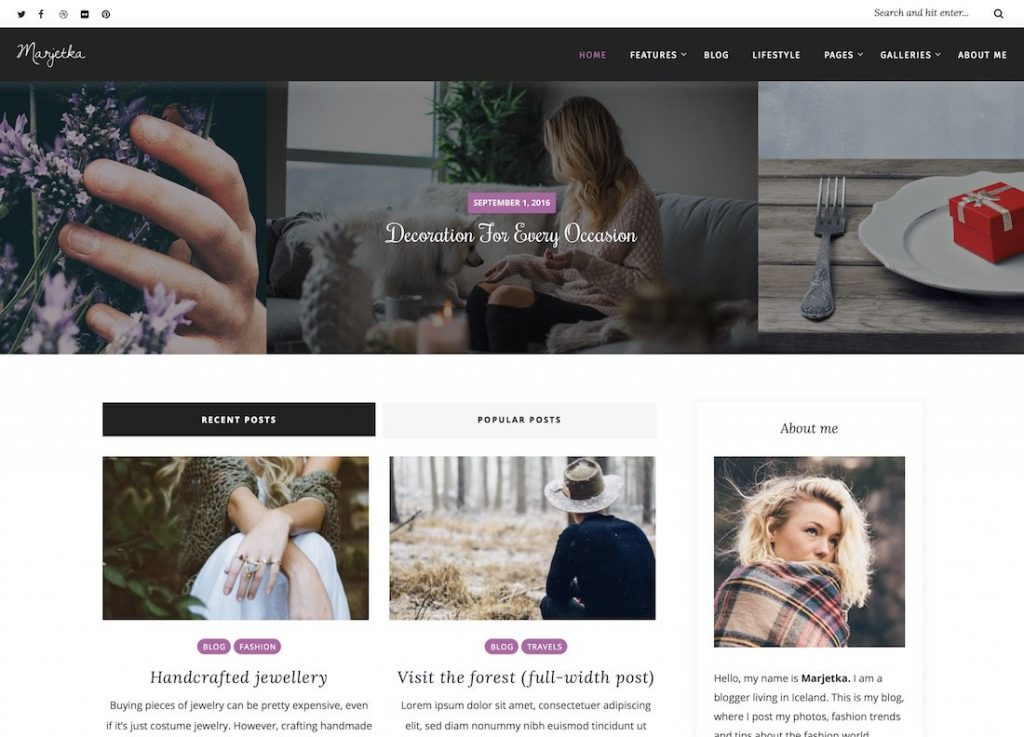 best travel blogger themes wordpress marjetka