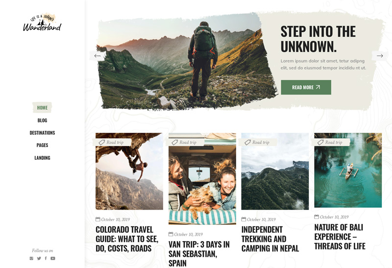 best travel blogger themes wordpress wanderland