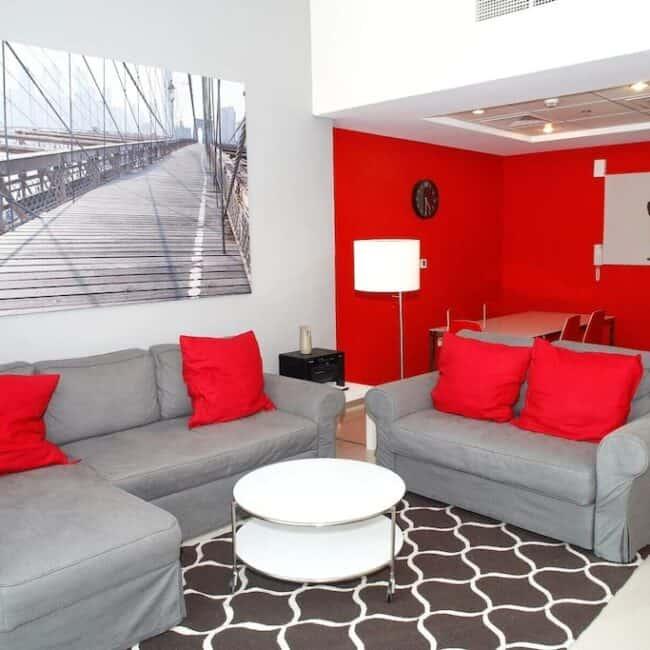 best airbnbs dubai mall birds eye living room