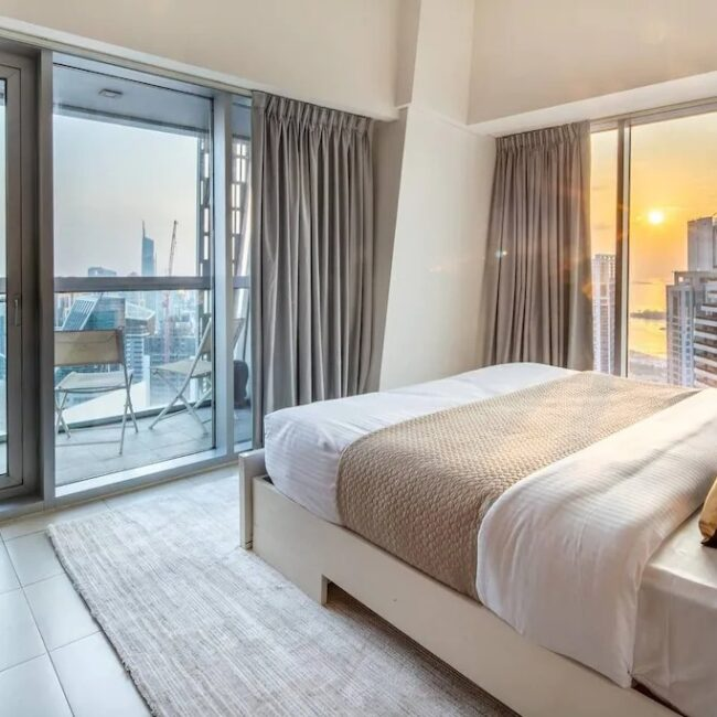 best airbnbs dubai marina luxurious bright and airy bed