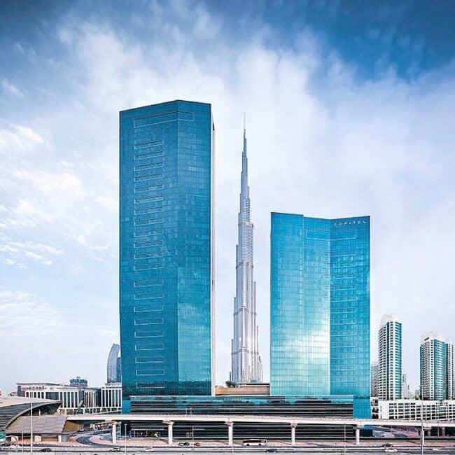 best pools dubai Sofitel Dubai Downtown view