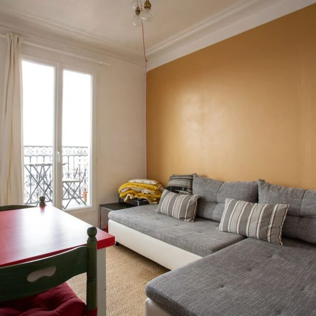 Best Airbnbs in Paris Eiffel Tower View budget apartment living room