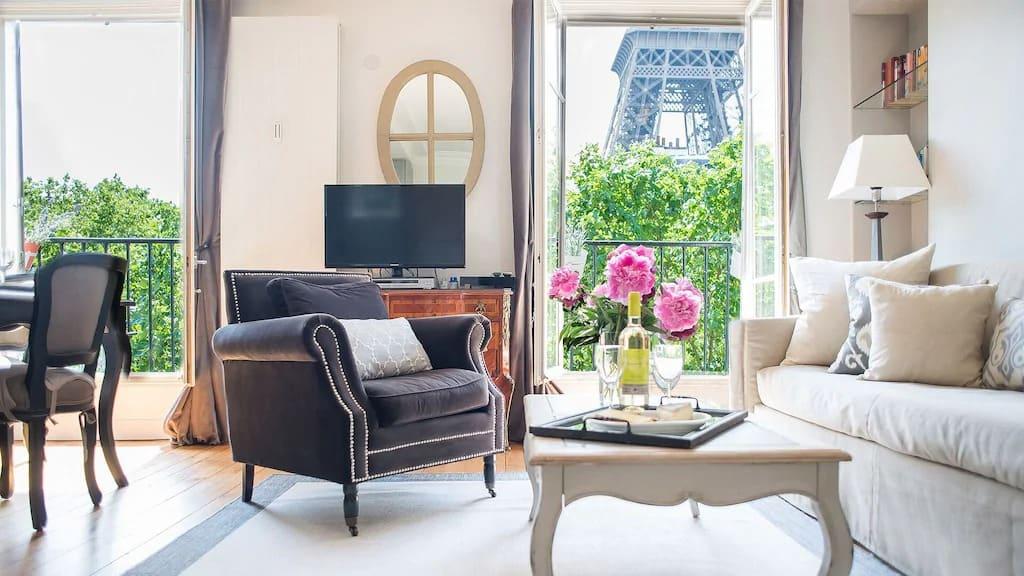 Best Airbnbs in Paris Eiffel Tower View elegant 3 bed