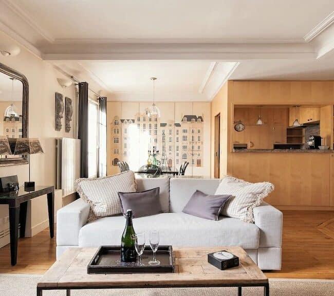 Best Airbnbs in Paris Eiffel Tower View elegant apartment kitchen