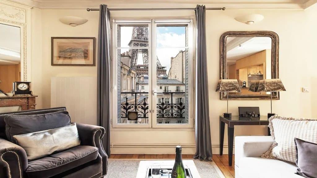Best Airbnbs in Paris Eiffel Tower View elegant apartment
