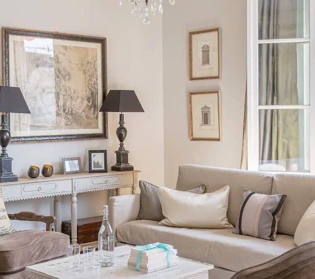 Best Airbnbs in Paris Eiffel Tower View lots of balconies living room detail