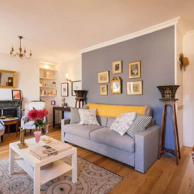 Best Airbnbs in Paris Eiffel Tower View romantic 1 br livingroom