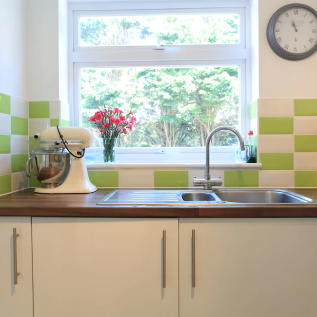 best airbnbs in Bournemouth panoramic sea views kitchen