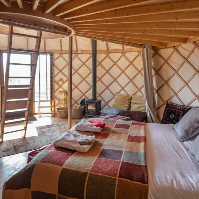 best airbnbs isle of wight yurt bedroom