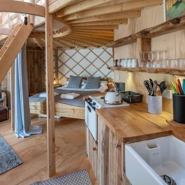 best airbnbs isle of wight yurt kitchen