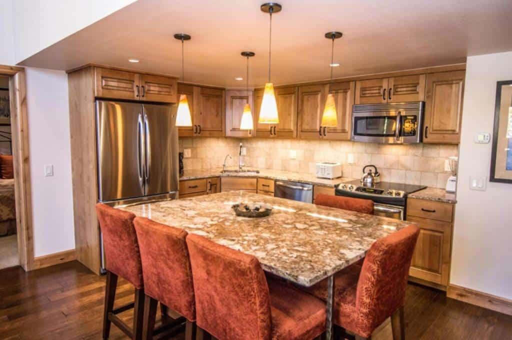 best cabins aspen three level loft kitchen